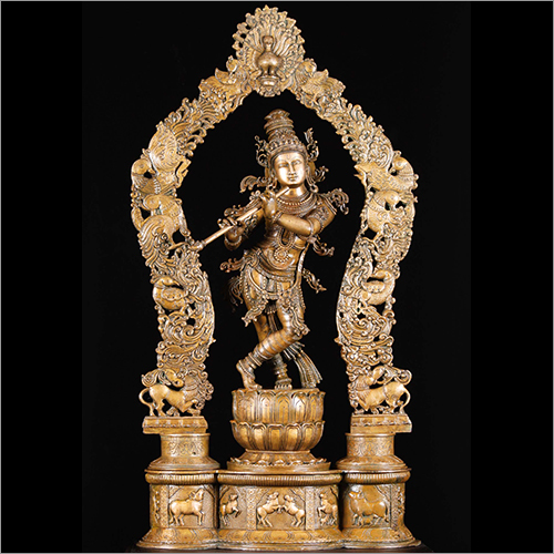 Brass Krishna With Peacock Arch