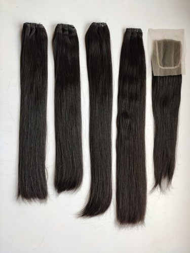Remy Pure Natural Straight Double Drawn Bundle With closure