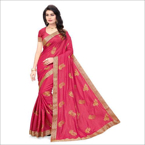 Designer Pure Silk Pink Saree