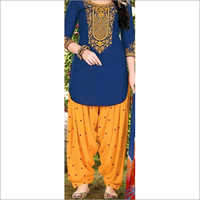 Embroidered Neck Patiala Suit