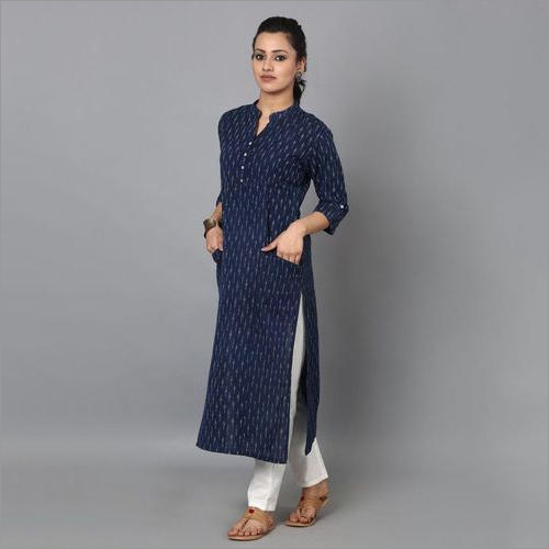 Indigo Straight Cotton Designer Kurti