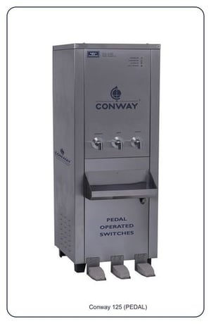 CONWAY 125 STAINLESS STEEL PEDAL OPERATED WATER DISPENSER - NORMAL, HOT & COLD
