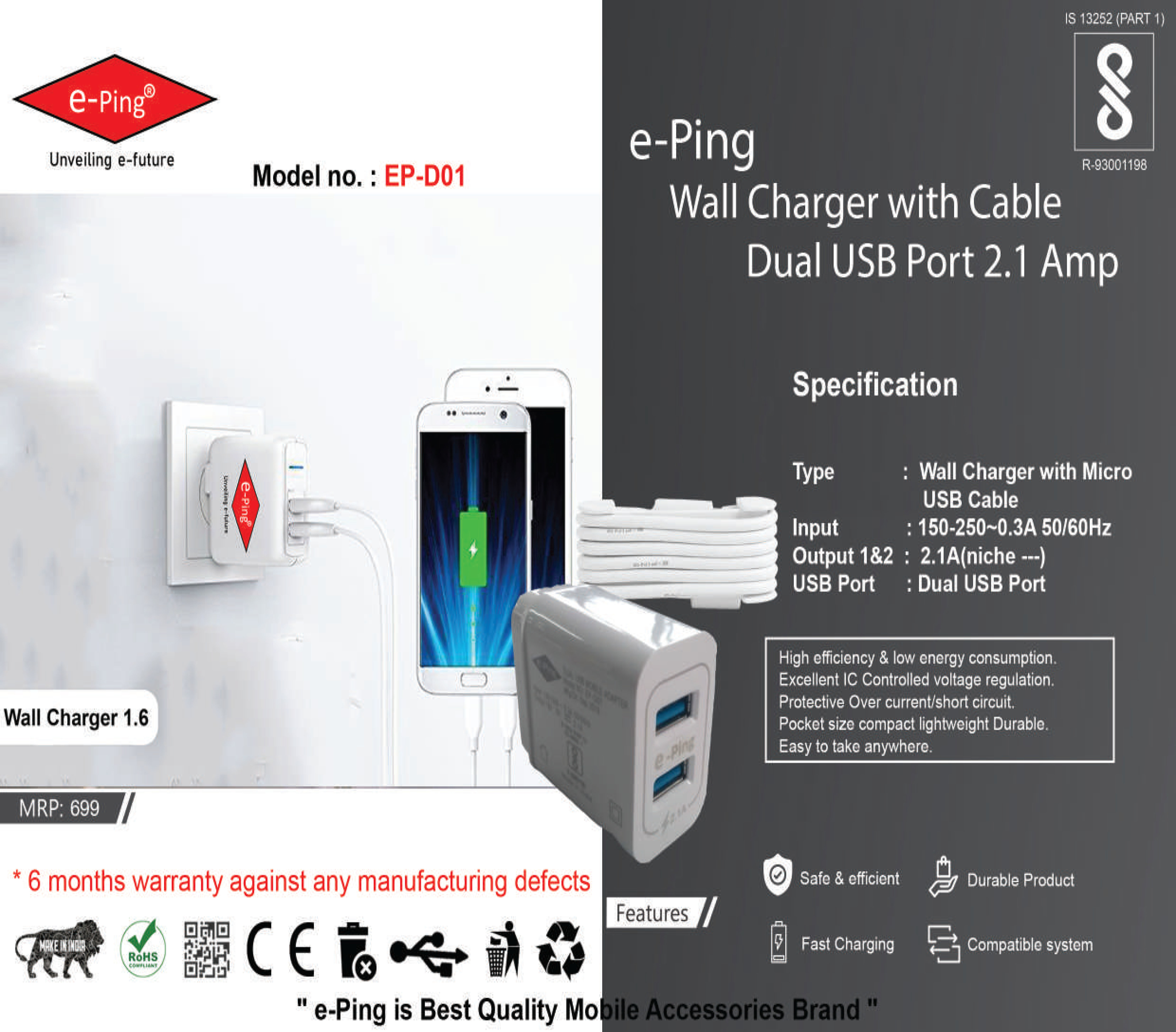 Wall Charger With Cable Dual Usb Port 2.1 Amp