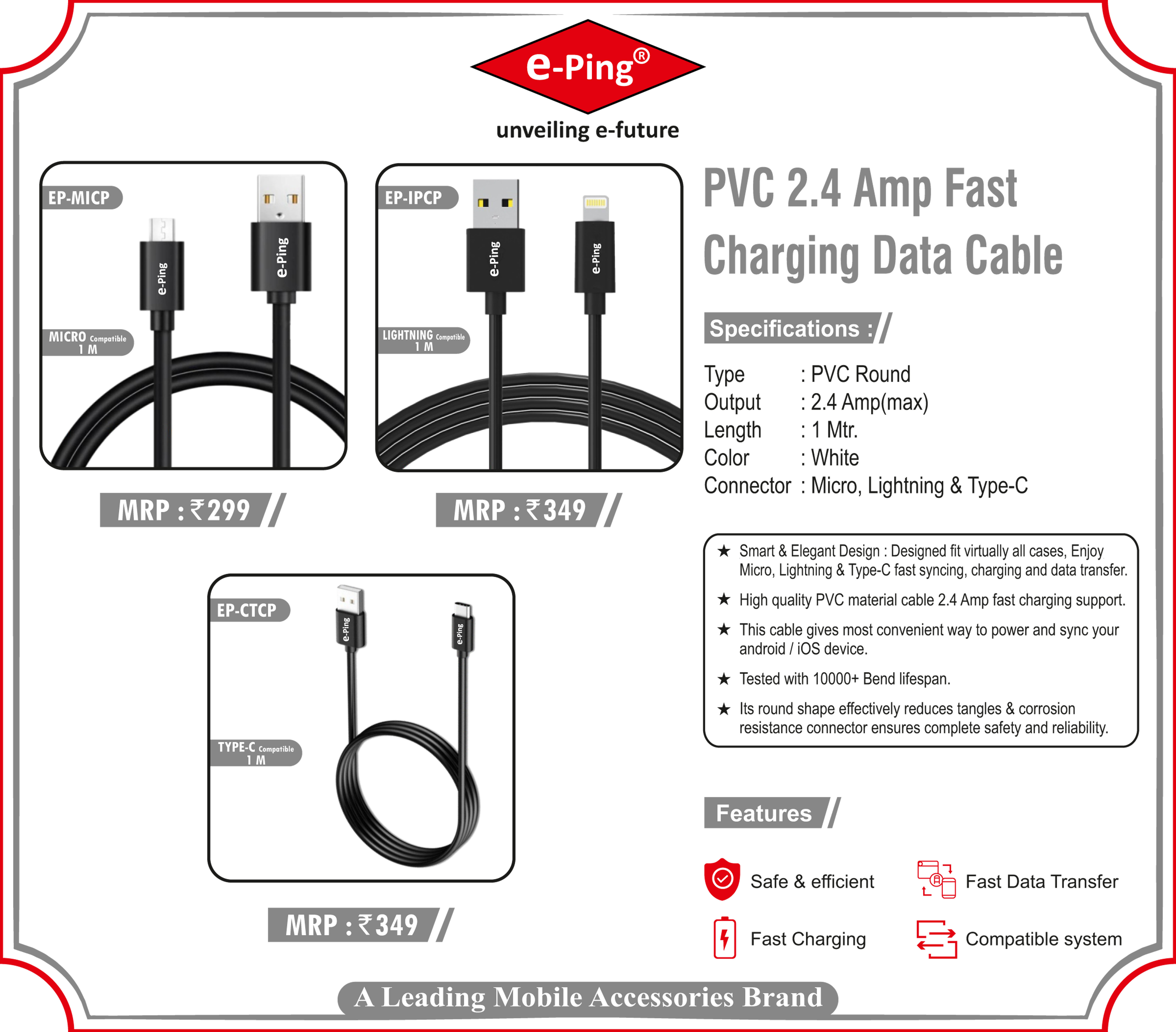 Pvc 2.4 Amp Fast Charging Data Cable Type-c