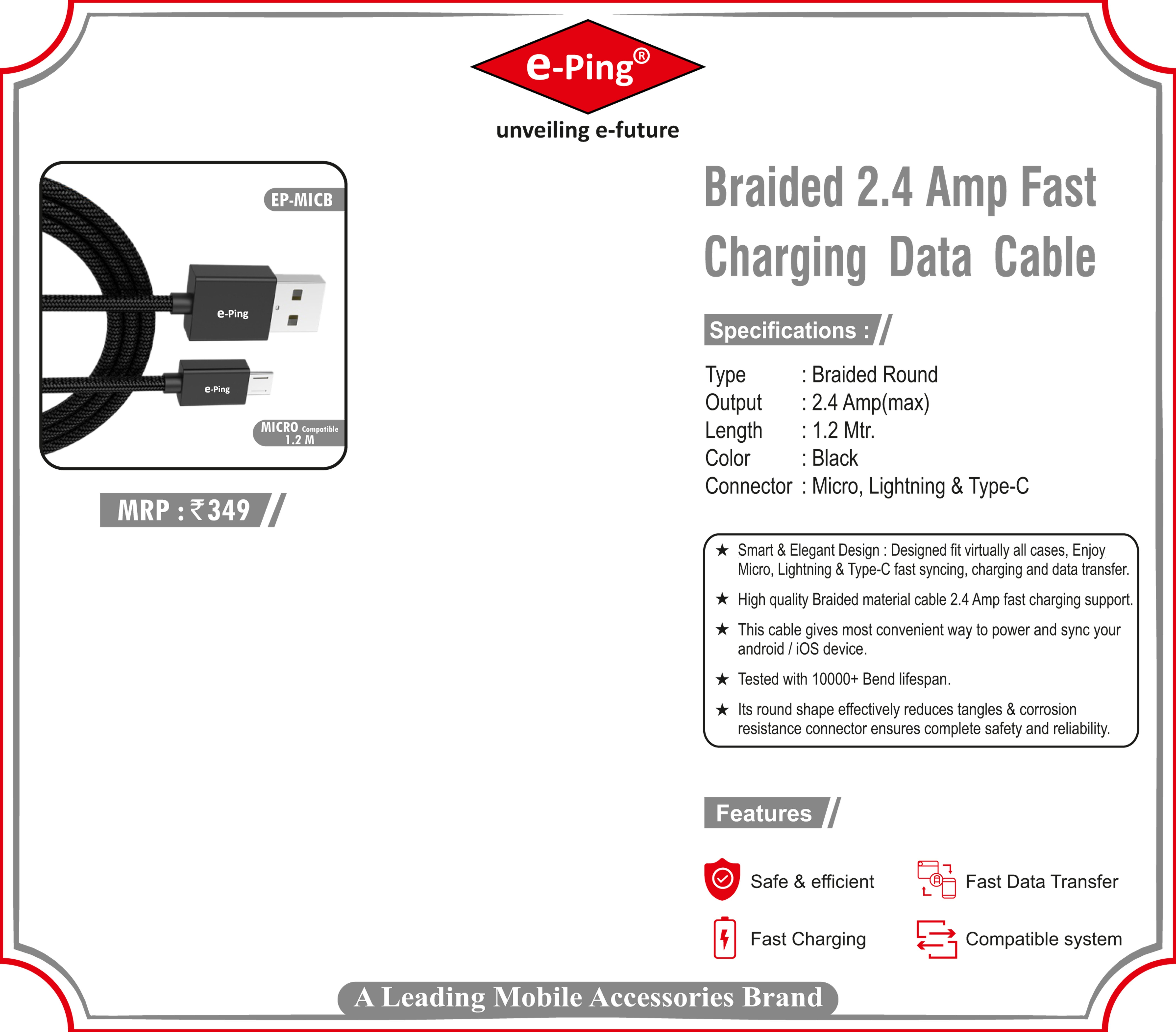 Braided 2.4 Amp Fast Charging Data Cable Micro Usb