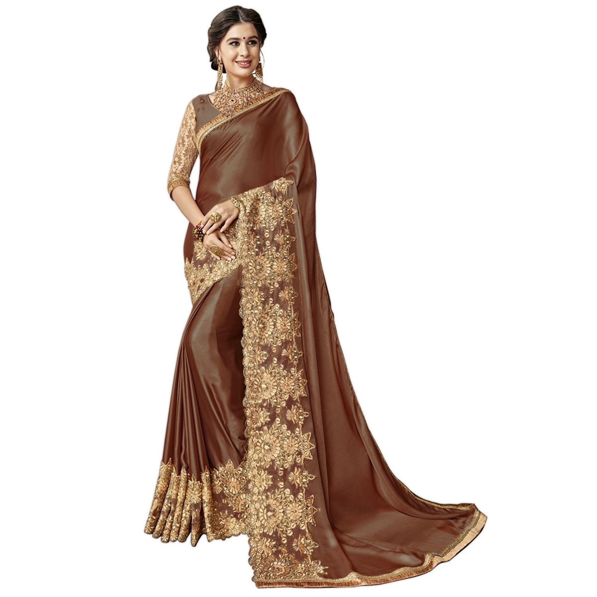 Lycra Silk Blend Embroidered Work Saree