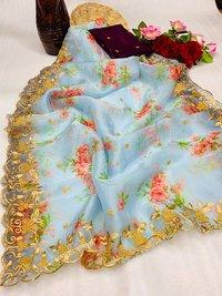 Printed Organza Embroidered Sarees