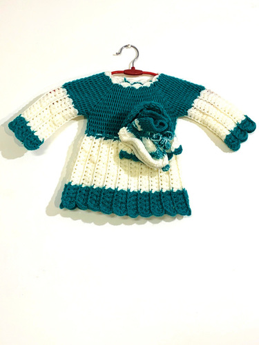 Blue And White Hand-knit Frock