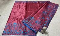 Pure Khadi Saree Border Machine Embroidered Saree, With Blouse
