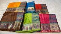 Pure Tussar Silk Saree With Banarsi Woven Border , Pallu & Blouse