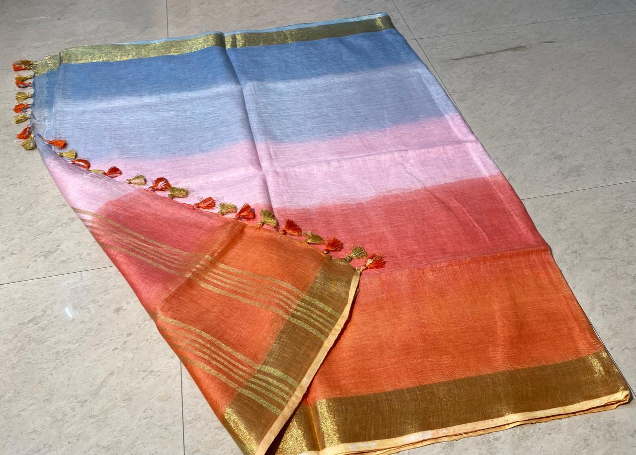 Best Quality Pure Linen by Linen 120 Count Tie and Die Saree