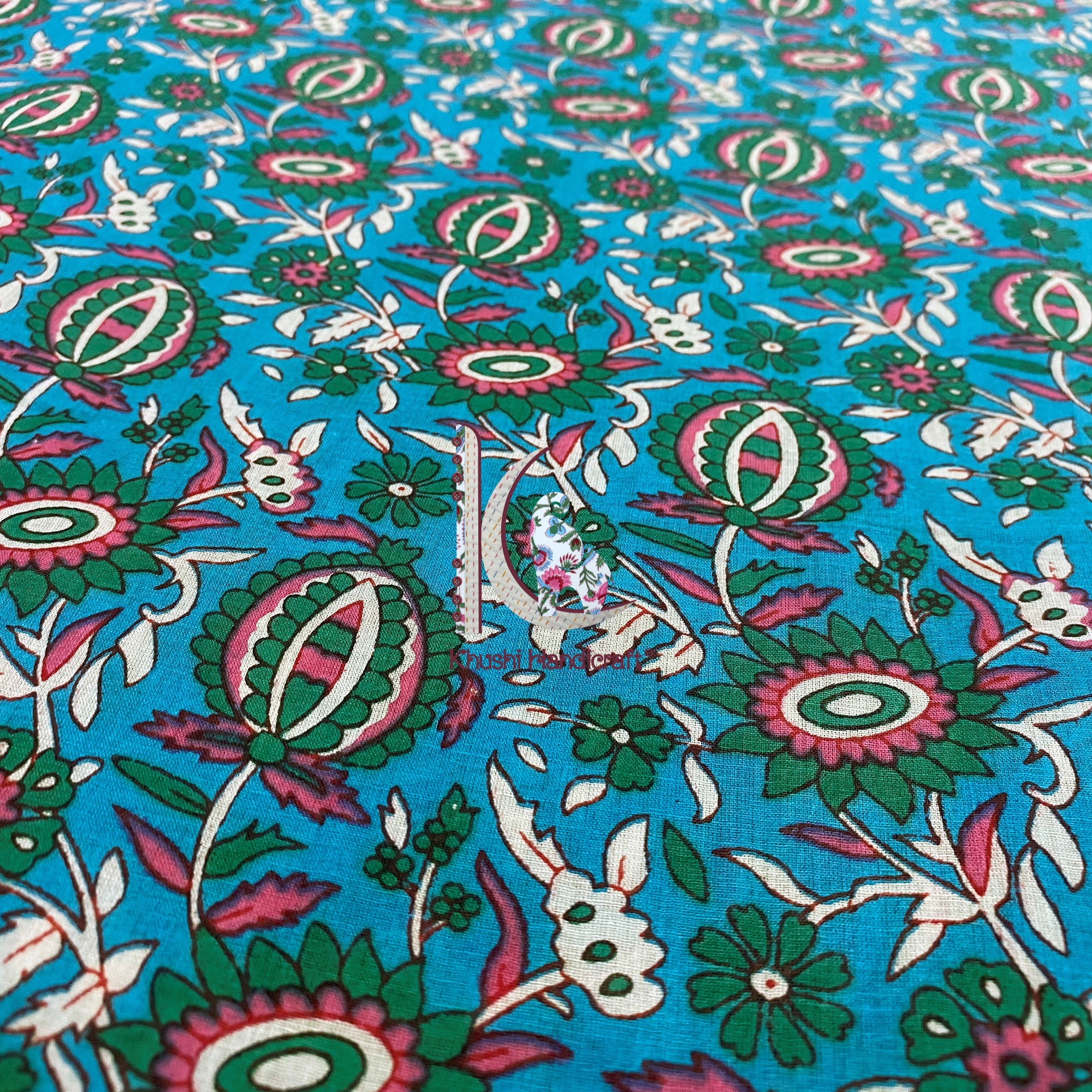Beautiful Hand Block Printed Floral Fabric Pure Cotton Dress Material