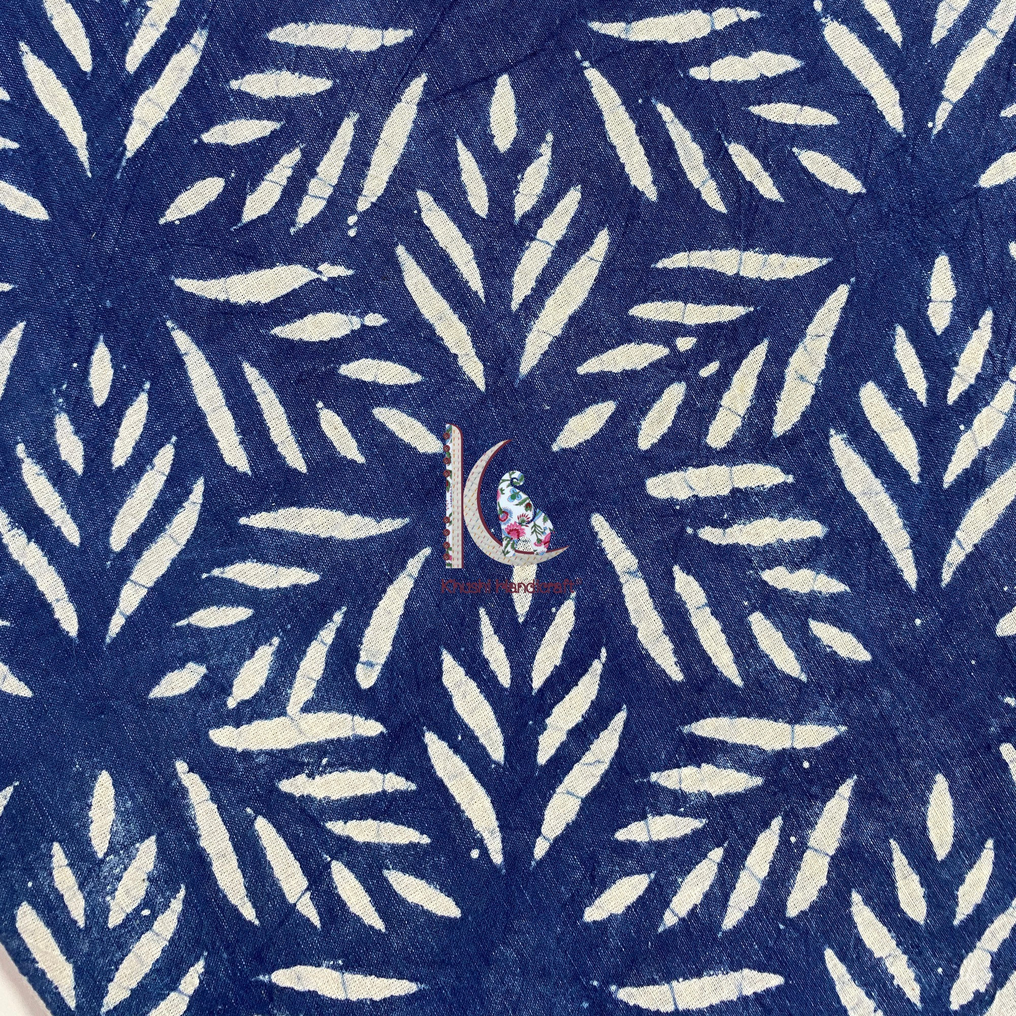 Natural Indigo Dyed Cotton Dress Material Fabric For Garments
