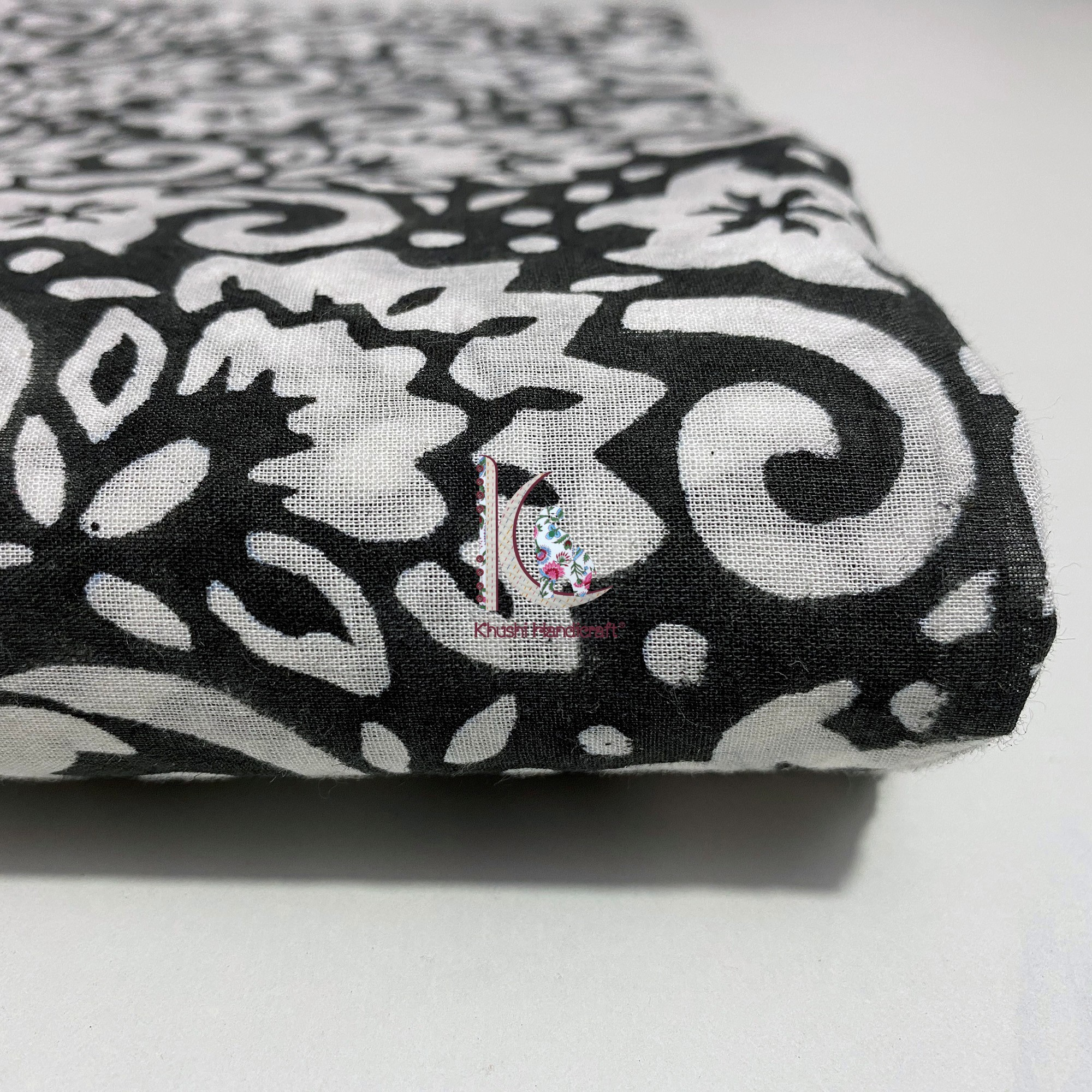 Beautiful Hand Block Print Fabric Black Floral Print Indian Fabric For Western Dress