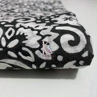 Beautiful Hand Block Print Fabric Black Floral Print Indian Fabric For Western Dress