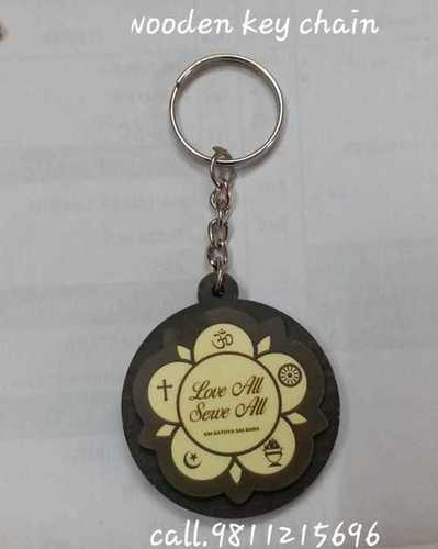 Round Shape Wooden Printed Keychains
