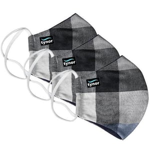 Tynor Face Mask Fabric Washable Check Adult Pack Of 3