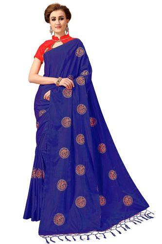 Peacock Design Silk Embroidered Work Saree