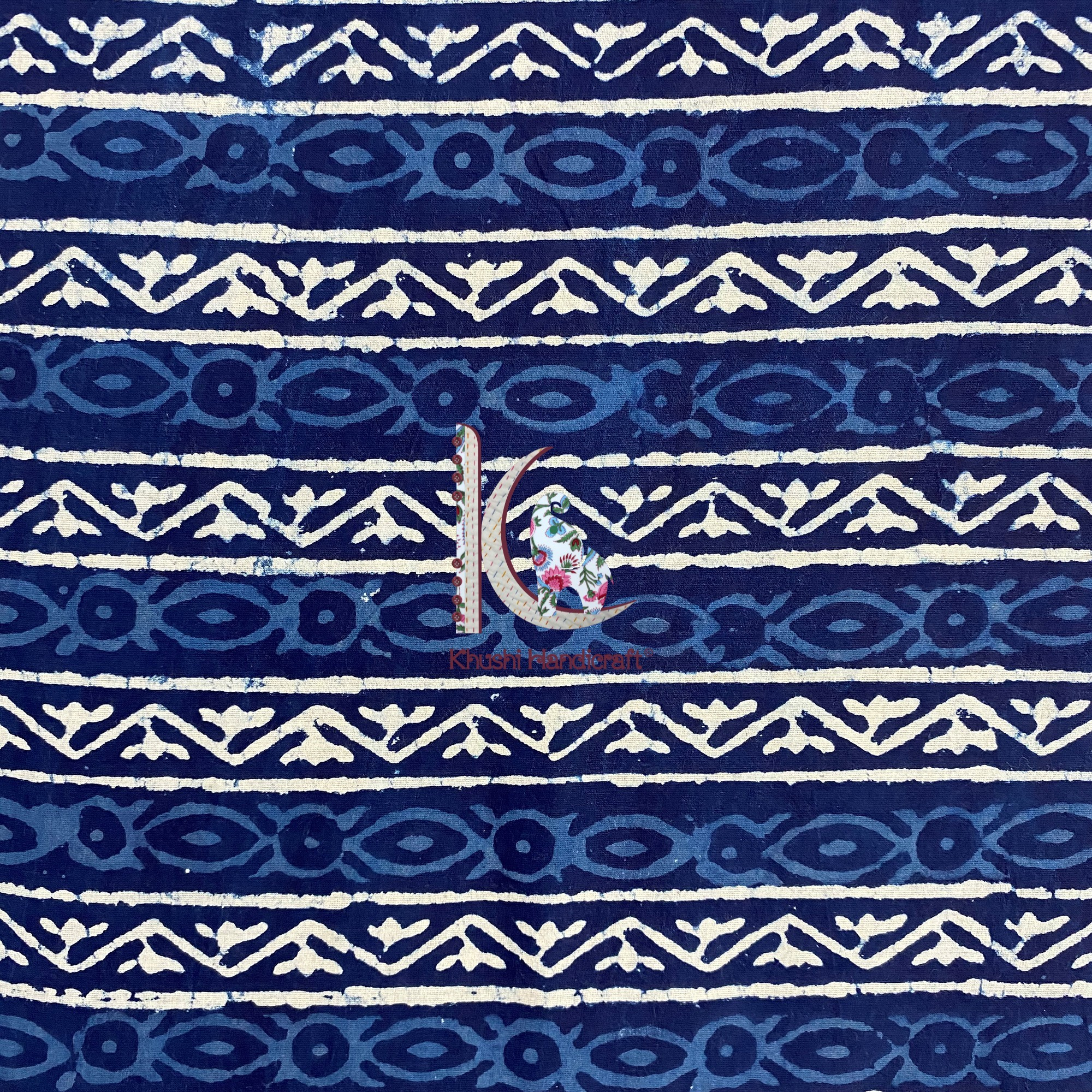 Traditional Indigo Dress Wear Fabric For Women