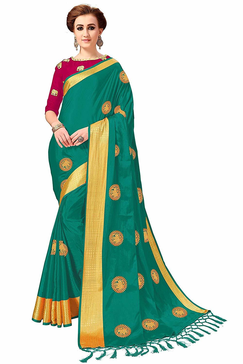 Animal design Silk Embroidered Work saree