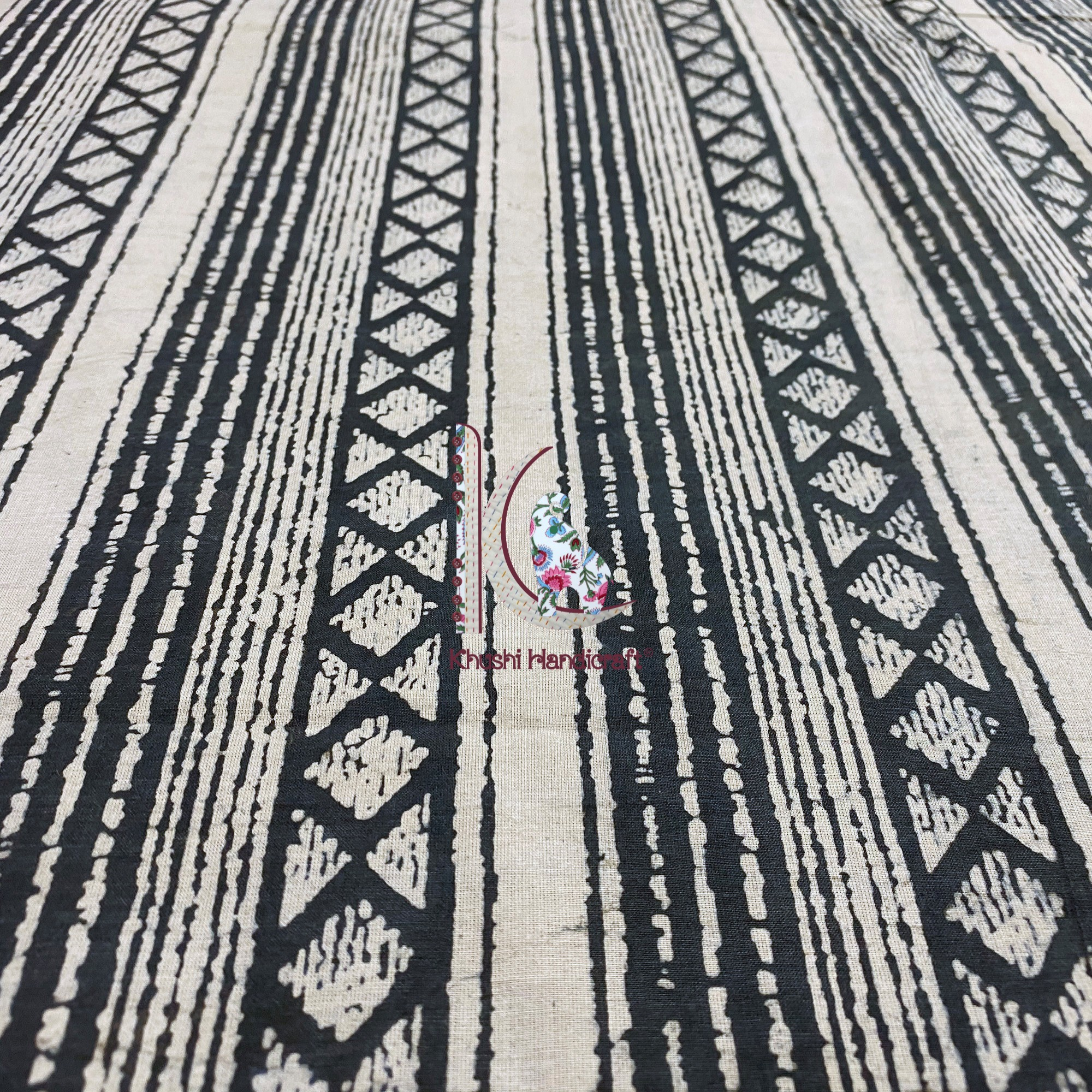 Natural Dyed Hand Block Printed Fabric For Bed Linings