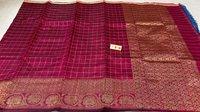 Pure Dupion Raw Silk Handloom Hand Border Saree , All Over Jari Weaving