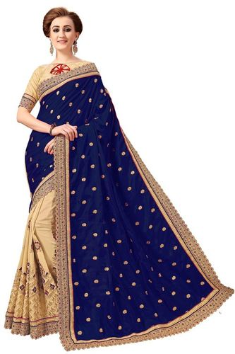 Ethnic Design Silk Embroidery Work Saree