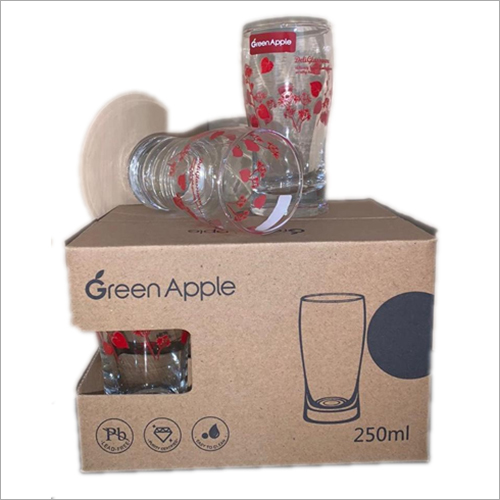 Imported Deli Green Apple Printed Glass Set