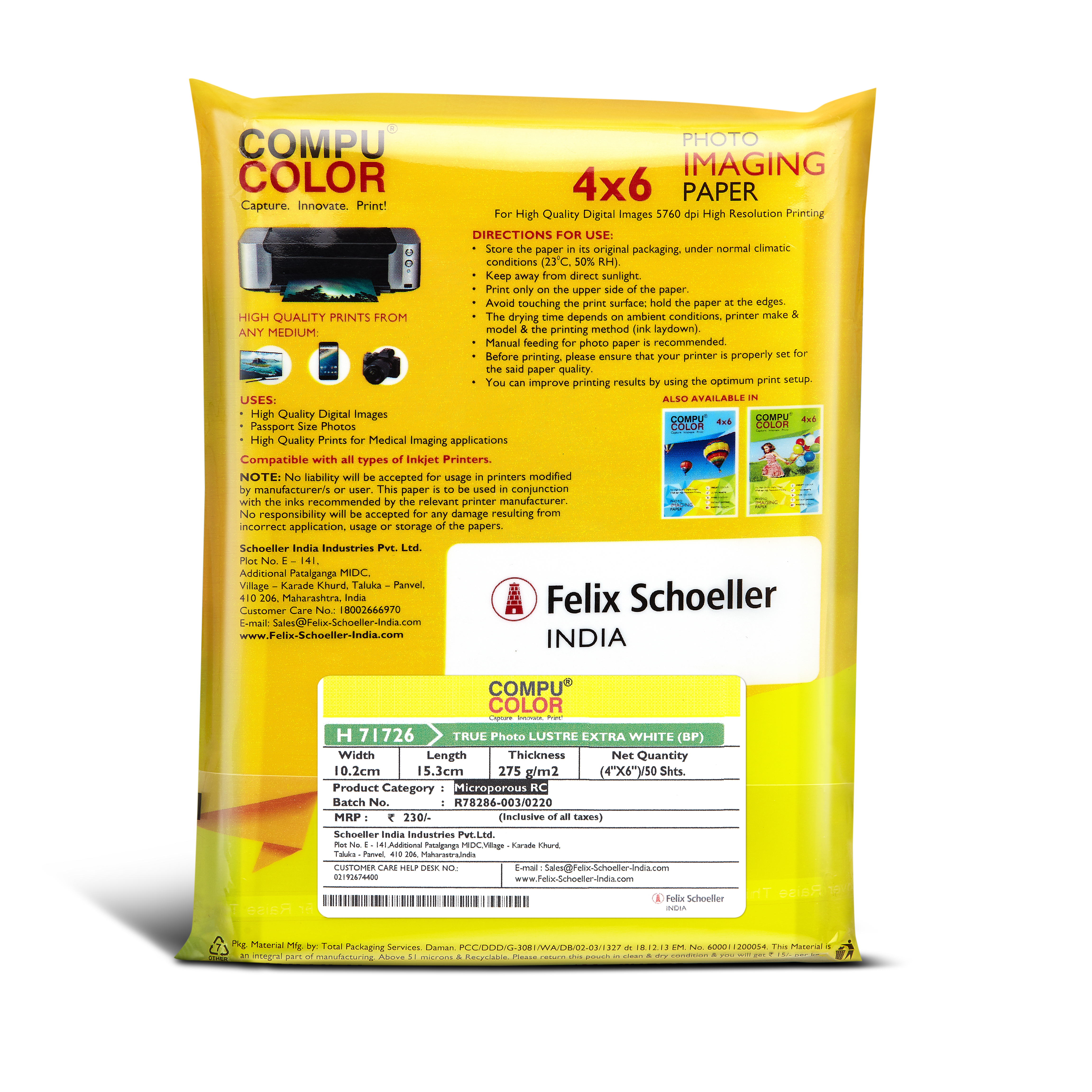 COMPU COLOR Glossy Photo Paper 270 gsm (4x6 cm) 50 sheets