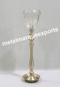 Brass Candle Stick Holder with Glass