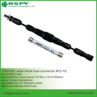 1500V DC Solar Straight Cable Fuse Connector With Inline Fuse 15A Or 20A  IP67 Matching MC4 Connector