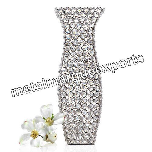 Crystal Beaded Nickel Plated Decorative Flower Vase