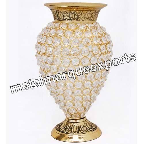 Brass Crystal Beaded Flower Vase