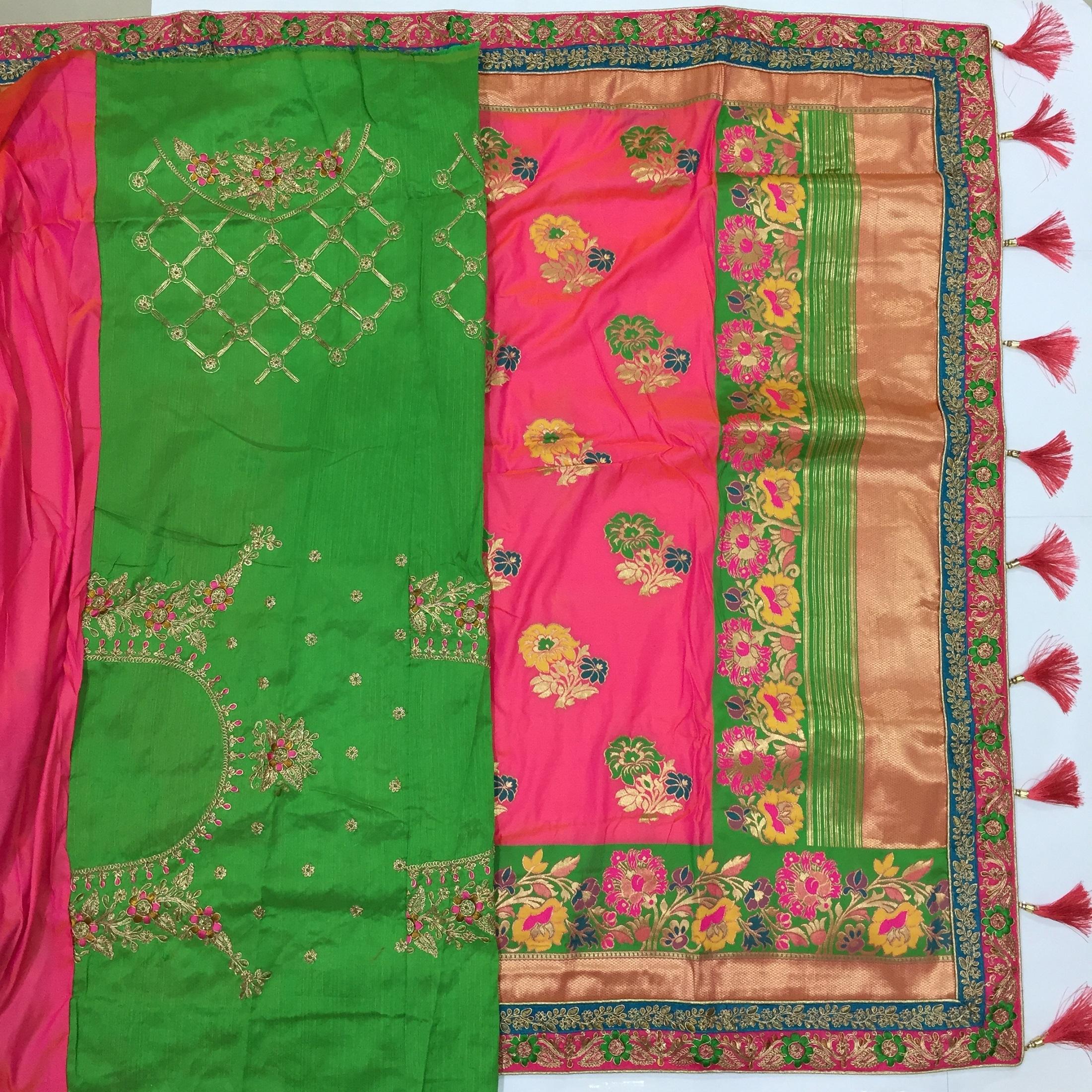 Jacquard Banarasi Silk Embroidery Border Saree