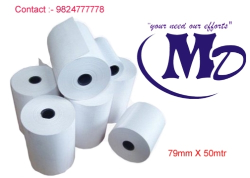 79 mm By 50 mtr Plain 48 GSM Thermal Paper Roll