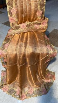 Pure Tussar Silk Cut Work Saree  With Blouse in Copper Colour