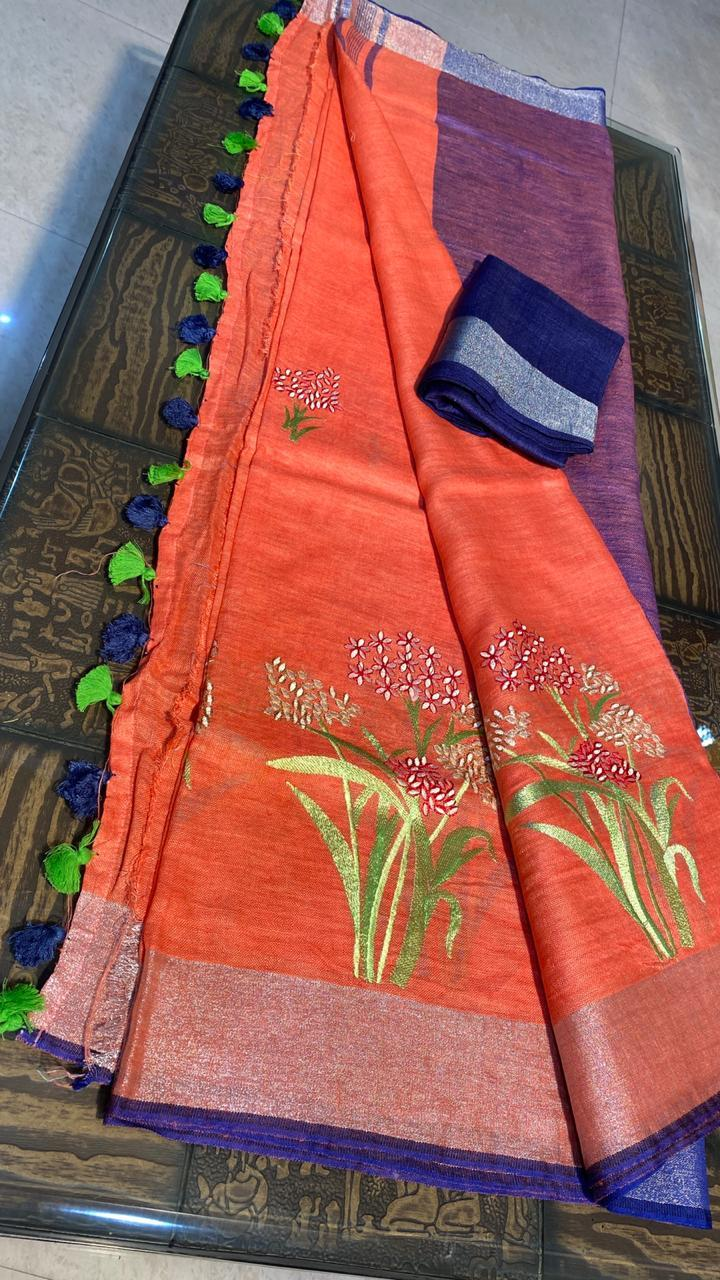 Pure Linen by Linen 120 Count Machine Embroidery Saree
