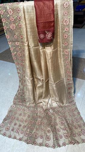 Pure Tussar Silk Cut Work Saree