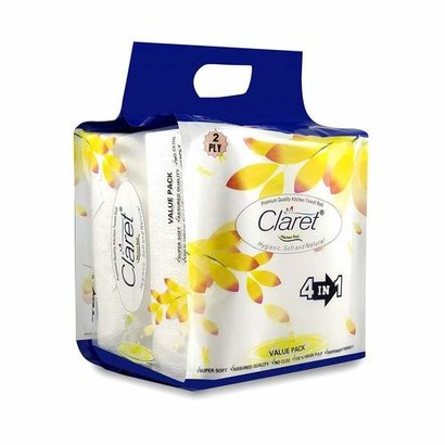 Claret 4 In 1 Hygienic Soft & Natural Kitchen Towel Roll - 2 Ply, 100 Sheets Application: Home