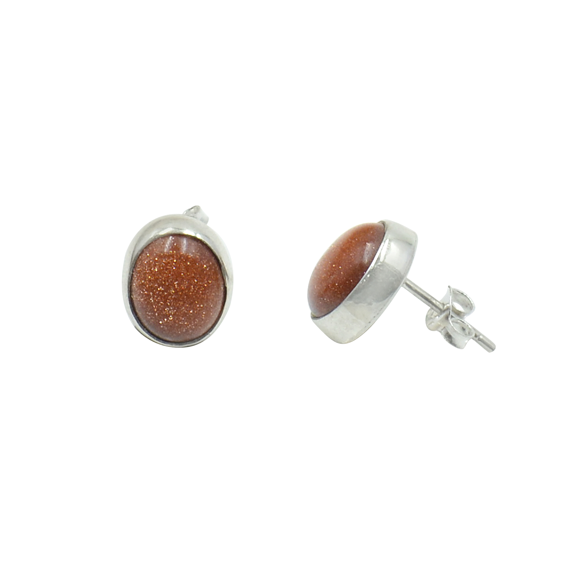 Silvesto India 925 Sterling Silver Natural Sandstone Oval Shape Gemstone Stud Earring For Women