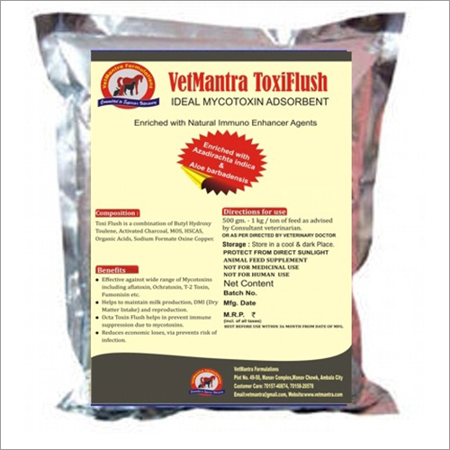 VetMantra Toxi Flush, Toxin Binder, Ideal Mycotoxin Adsorbent Enriched with Natural Immuno Enhancer Agents