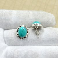 Silvesto India 925 Sterling Silver Natural Tibet Turquoise Oval Shape Gemstone Stud Earring For Women