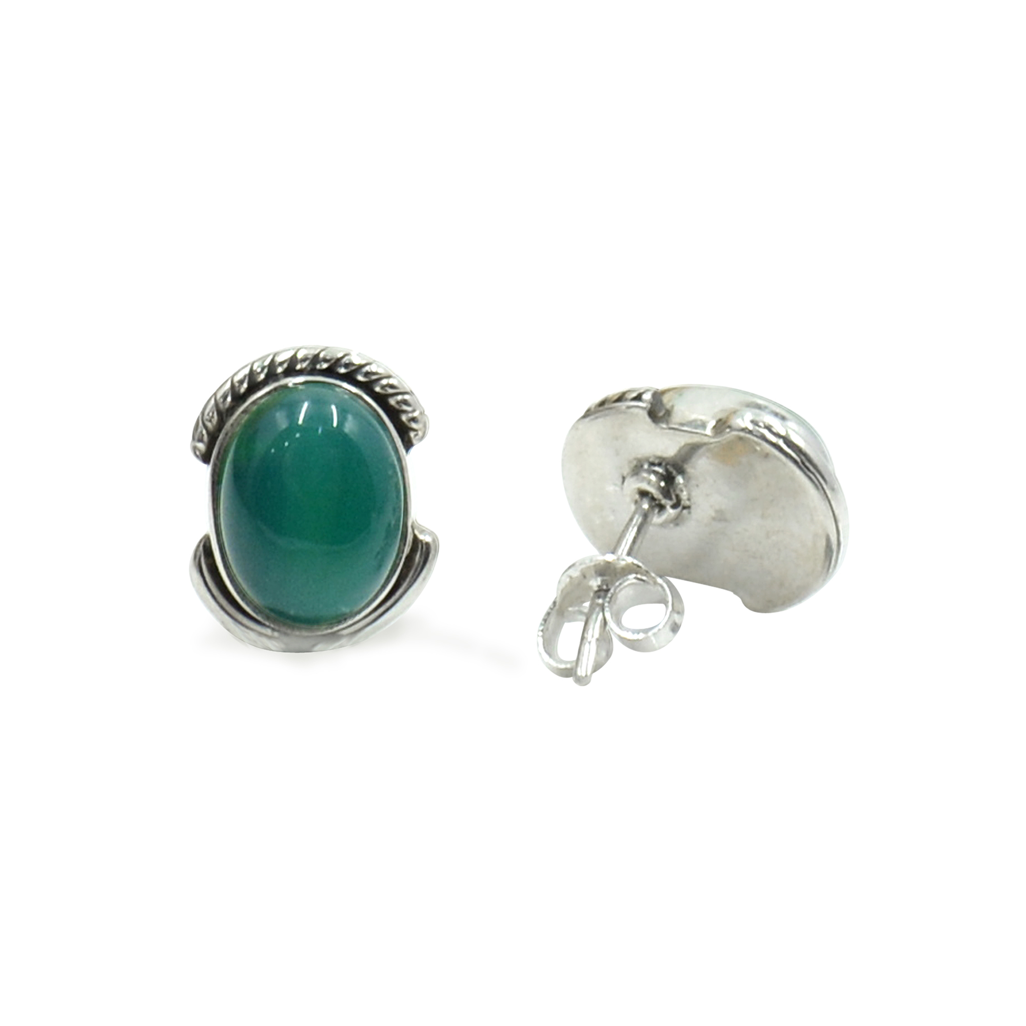 Silvesto India 925 Sterling Silver Natural Green Onyx Oval Shape Gemstone Stud Earring For Women