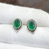 Silvesto India 925 Sterling Silver Natural Green Onyx Oval Shape Gemstone Post Stud Earring For Women