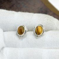 Silvesto India 925 Sterling Silver Natural Yellow Tiger EyeOval Shape Gemstone Stud Earring For Women