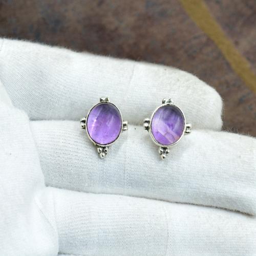 Silvesto India 925 Sterling Silver Natural Purple Amethyst Oval Shape Gemstone Stud Earring For Women-