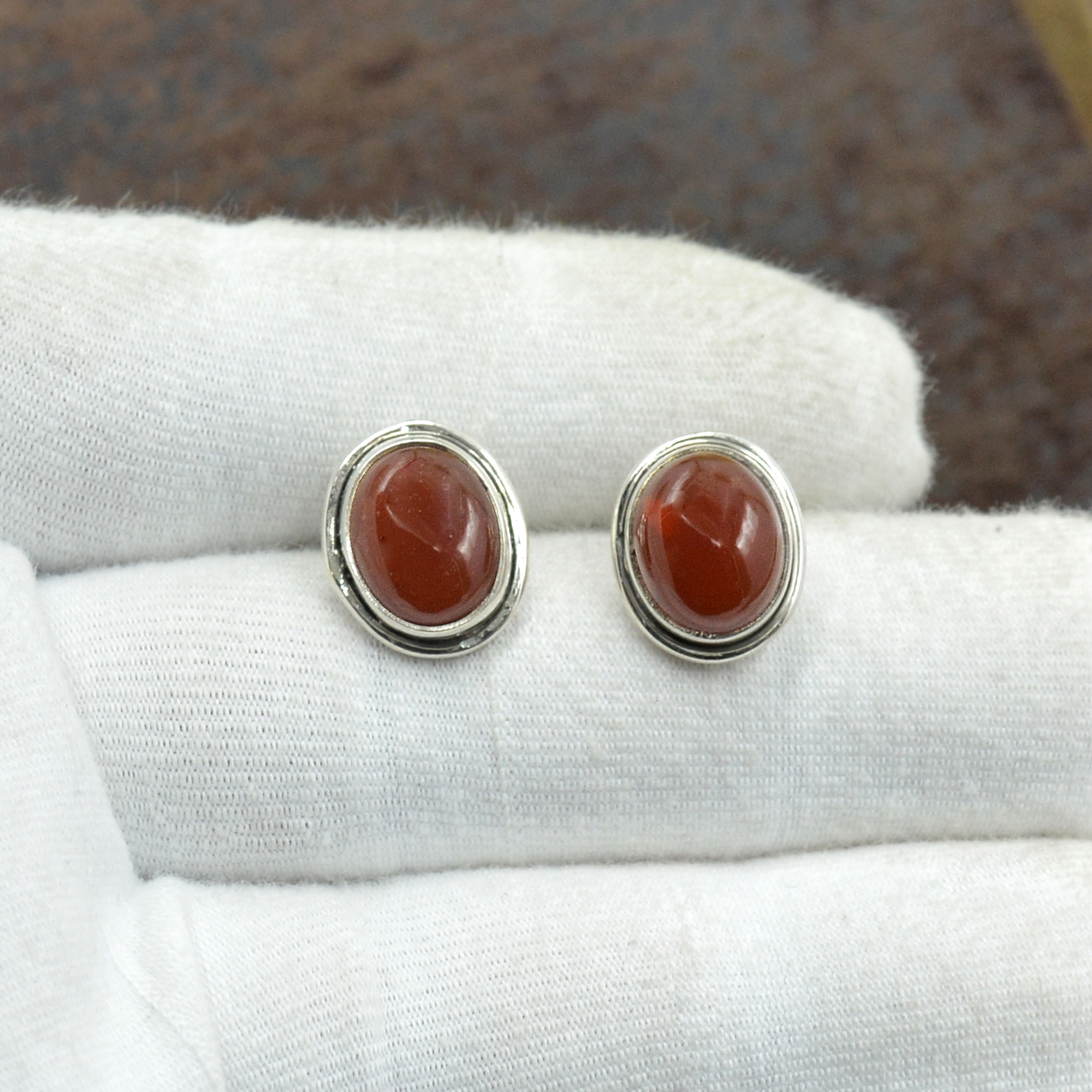 Silvesto India 925 Sterling Silver Natural Red Onyx Oval Shape Gemstone Stud Earring For Women