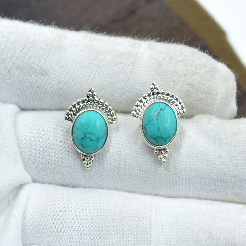 Silvesto India 925 Sterling Silver Natural Turquoise Oval Shape Gemstone Stud Earring For Women