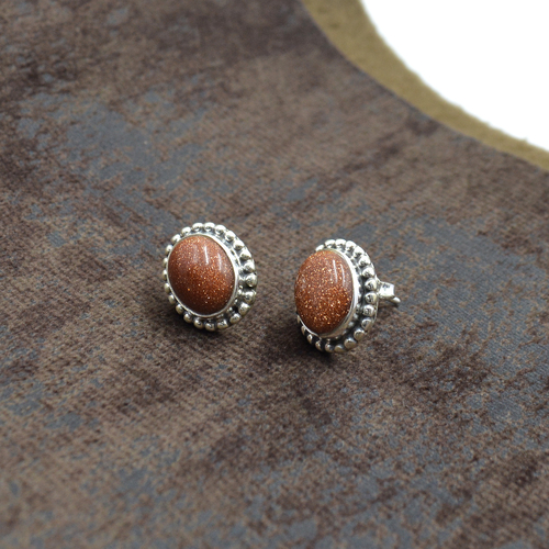 Silvesto India 925 Sterling Silver Natural Brown Sandstone Oval Shape Gemstone Stud Earring For Women