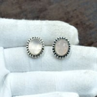 Silvesto India 925 Sterling Silver Natural Rose Quartz Oval Shape Gemstone Stud Earring For Women